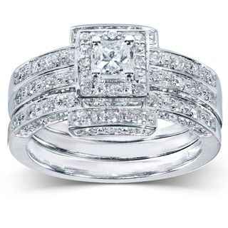 annello 14k gold 45ct tdw diamond 3 piece halo bridal ring set - 3 Piece Wedding Ring Sets