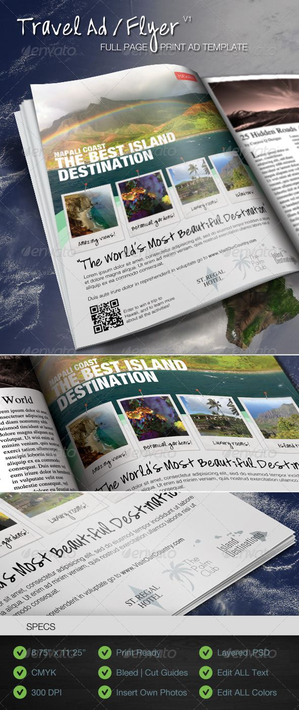 Travel Print Ad Flyer Template V  Magazine Ads Adobe Photoshop