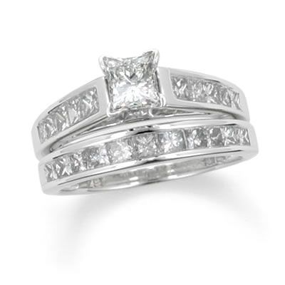 tw princess cut diamond bridal set in 14k white gold zales - Princess Cut Diamond Wedding Ring Sets