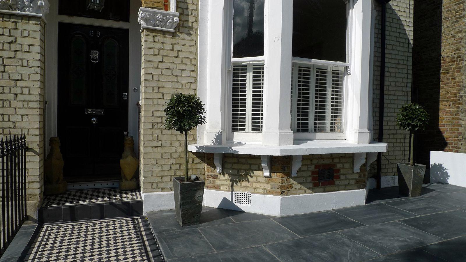 front garden design balham clapham wandsworth slate mosaic ...