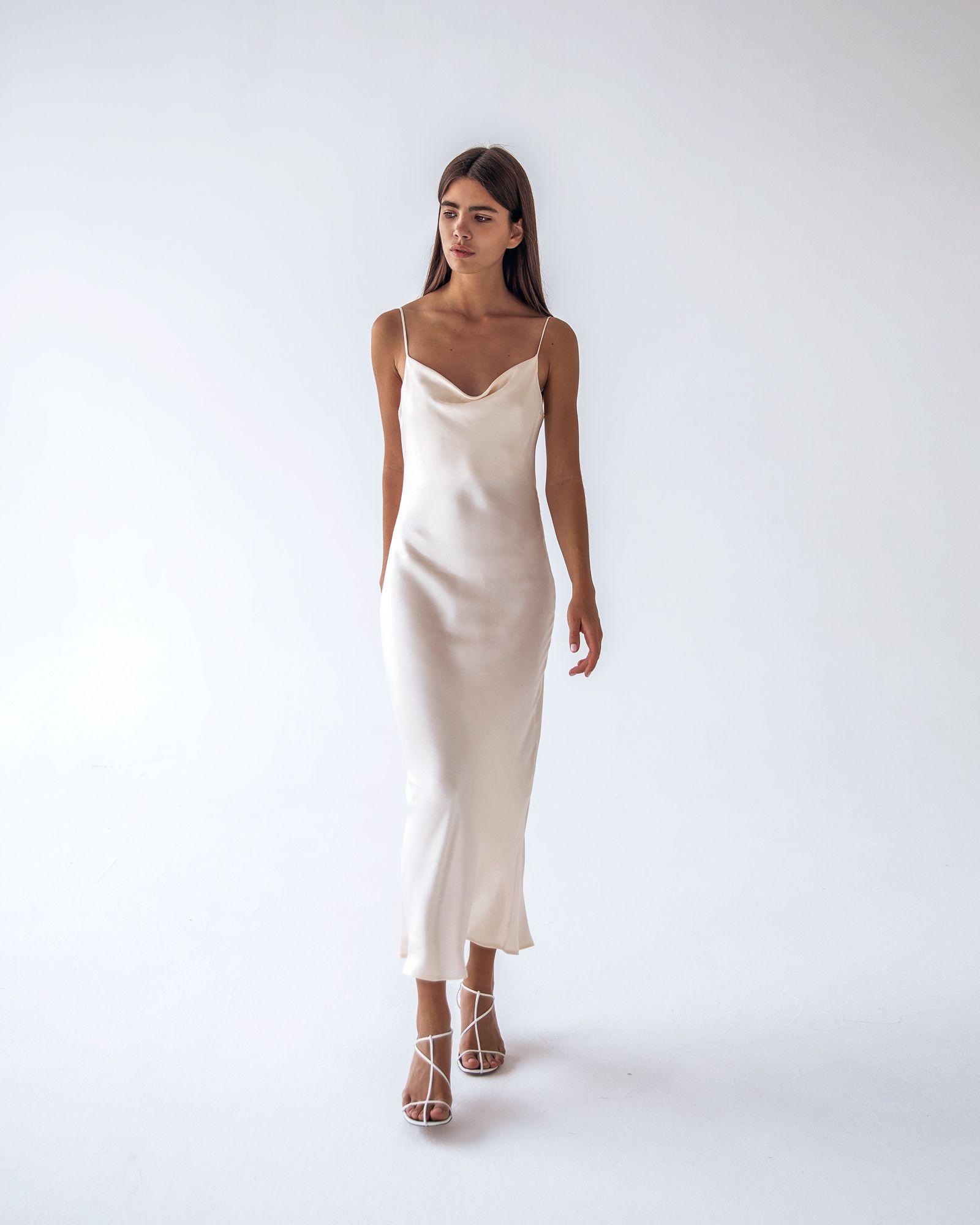 Preorder \u003e Viscose silk slip midi dress