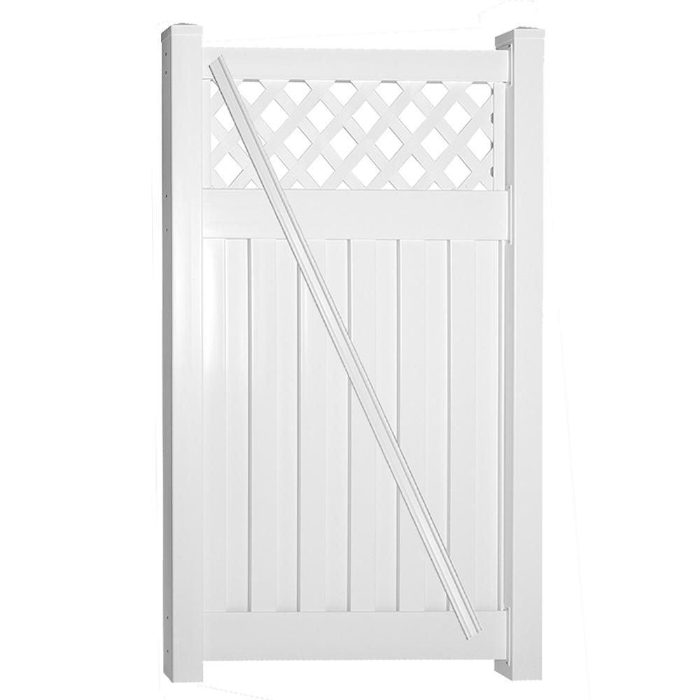 Weatherables Clearwater 4 Ft W X 6 Ft H White Vinyl Privacy Fence Gate Kit Vinyl Privacy Fence Fence Gate White Vinyl