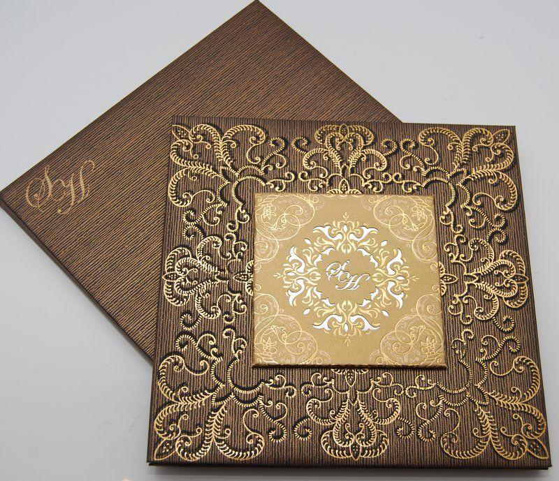Beautiful 42 Fabulous Luxury Wedding Invitation Ideas That: Amazing Brown Gold Lavish Pakistani Wedding Invitation