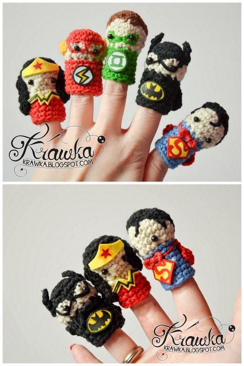 d1c05c6b883 DIY Crochet Super Hero Finger Puppets Free Patterns. Free crochet patterns  are at the link