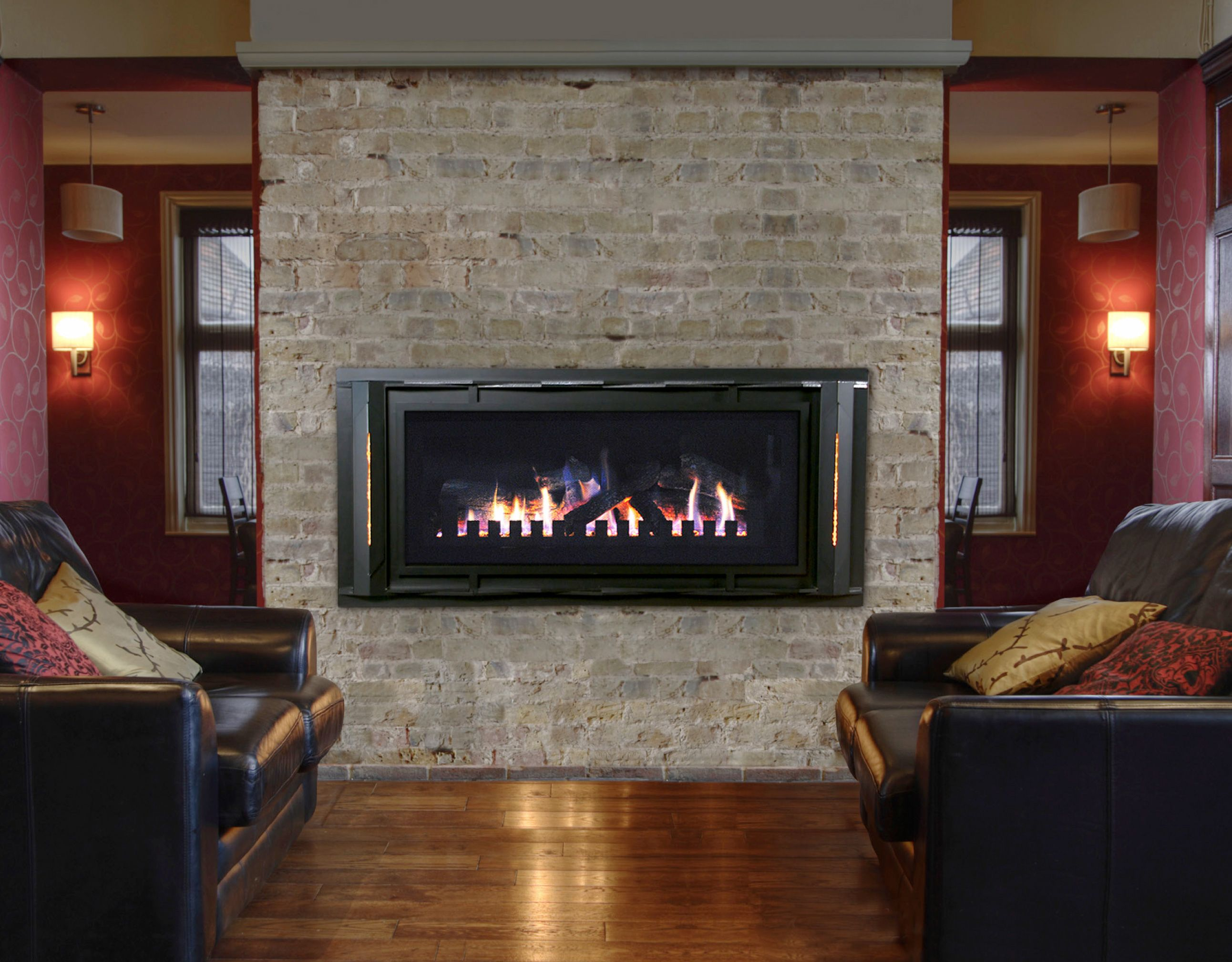 surround fireplace corner stone gas with