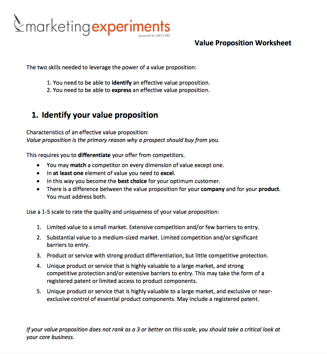 Value Proposition Worksheet The Two Skills Needed To
