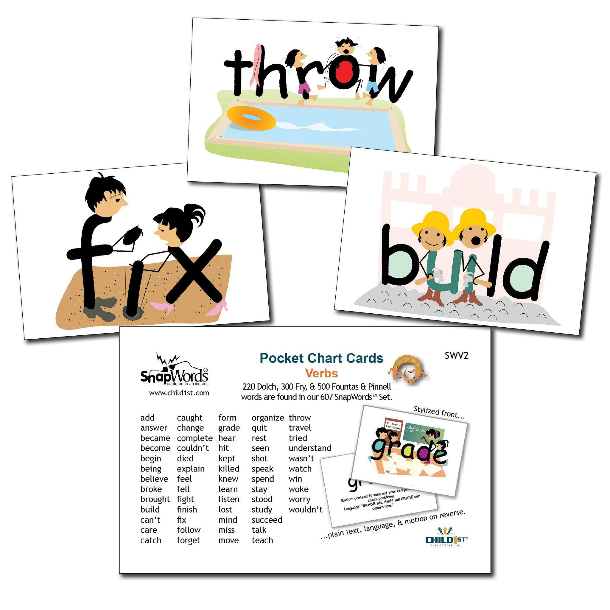 Bilingual dolphin counting card 6 clipart etc - Snapwords Verbs Pocket Chart Cards