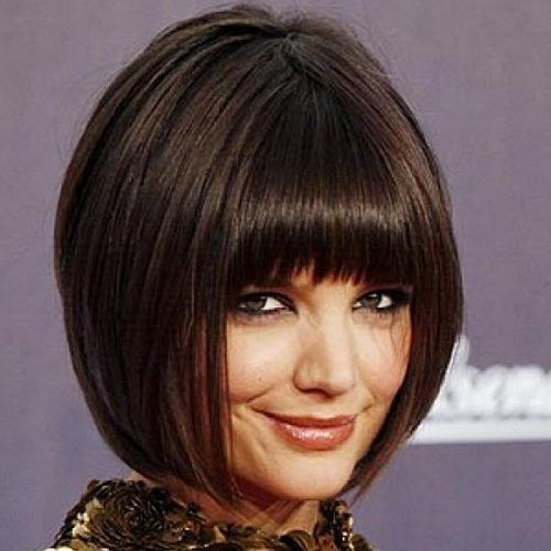Inverted Bob Hairstyles With Blunt Bangs