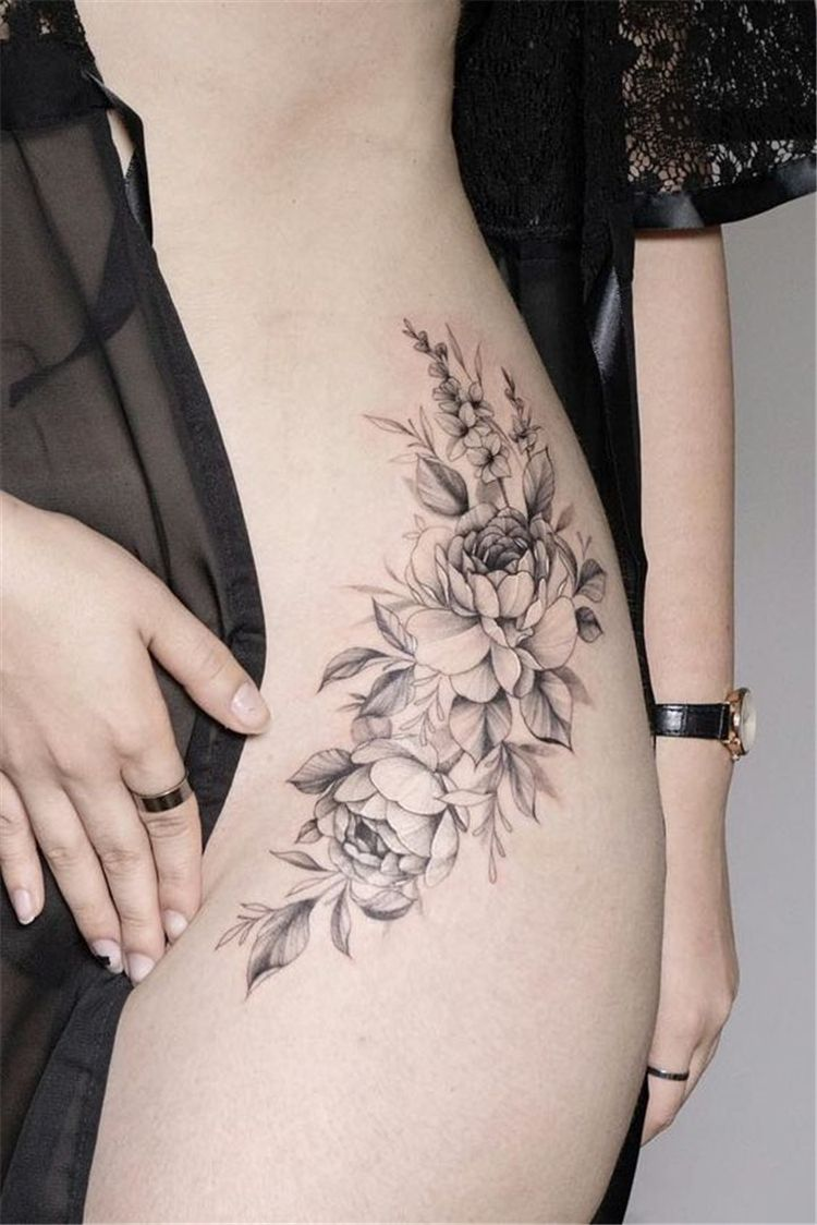 50 Gorgeous And Sexy Hip Thigh Floral Tattoo Designs You Will Love - Women Fashion Lifestyle Blog Shinecoco.com