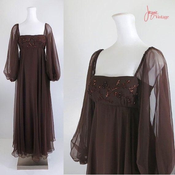 60s 70s evening dress brown chiffon gown renaissance