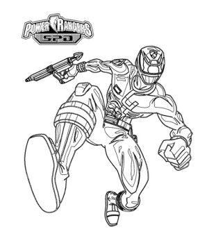 Power Rangers SPD Pursuing Enemy Coloring Page For Kids