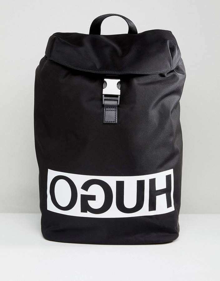 878f34eefec353 HUGO Reverse Logo Nylon Backpack in Black