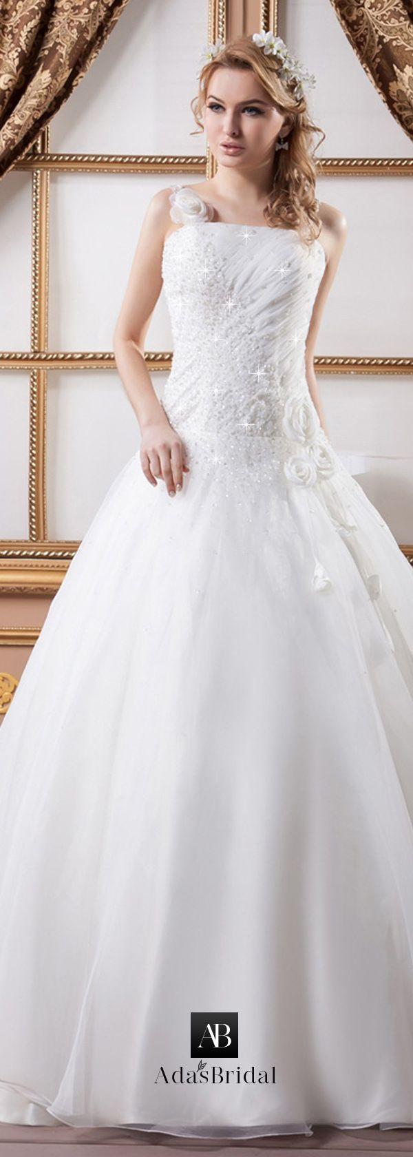 Junoesque organza spaghetti straps neckline aline wedding dresses