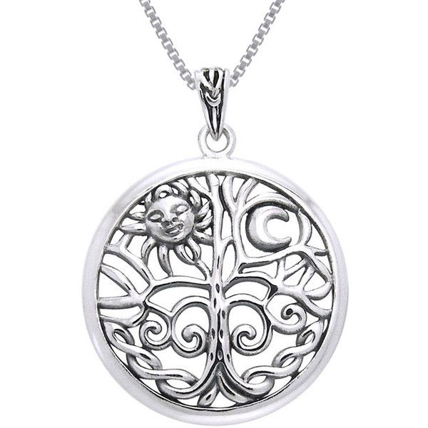 CGC Sterling Silver Celtic Sun Moon Tree of Life Necklace 43
