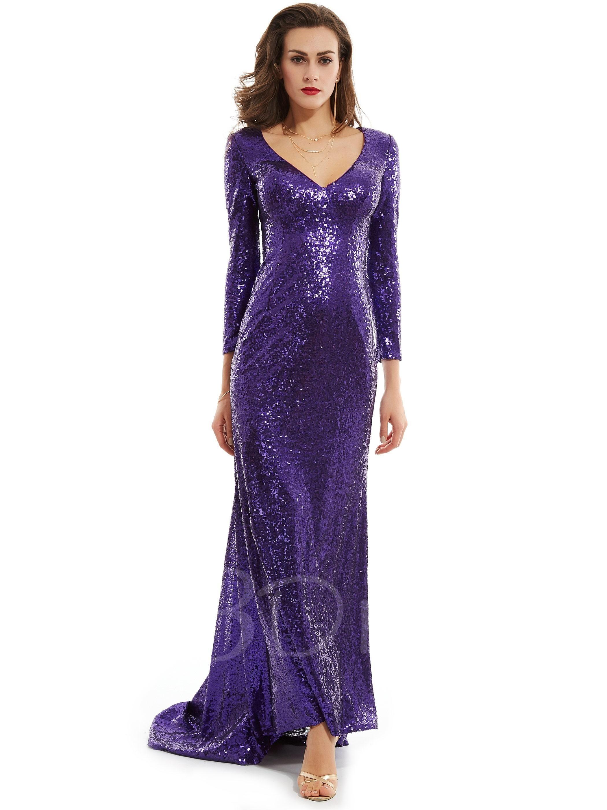 V Neck Long Sleeves Sequins Mermaid Evening Dress | Mermaid evening ...