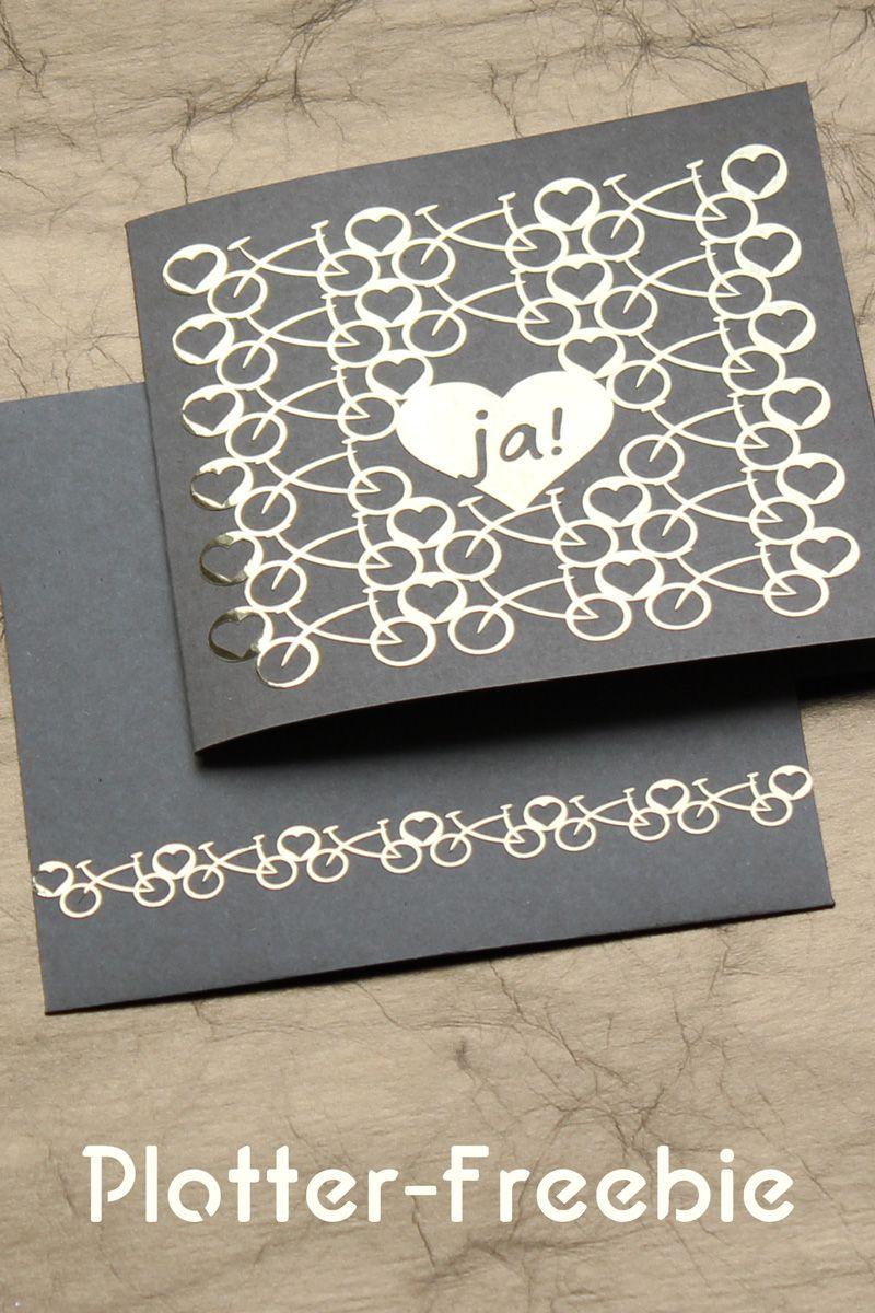 Hochzeitskarte mit Fahrrdern und Herzen Plotterfreebie  Kugelig Freebies  Plotterdateien