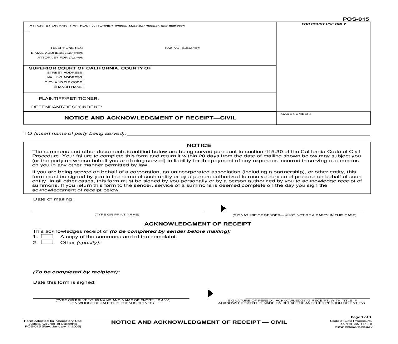 Judicial Council Form Complaint This Is A California Form That Can Be Used For Proof Of Service .