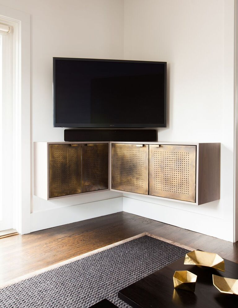 Beautiful Gold Floating Fauxdenza Credenza Media Unit For Corner