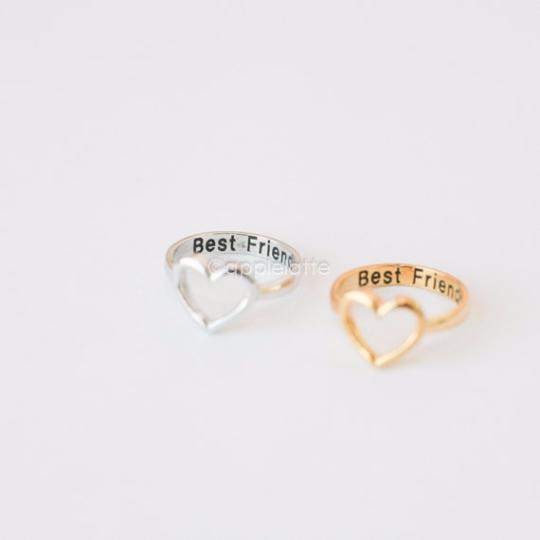 """open heart ring """"Best Friends"""" gold silver sterling silver 925"""