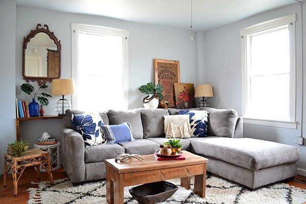 Farmhouse Renovation One Year In Light Blue Living Room Living