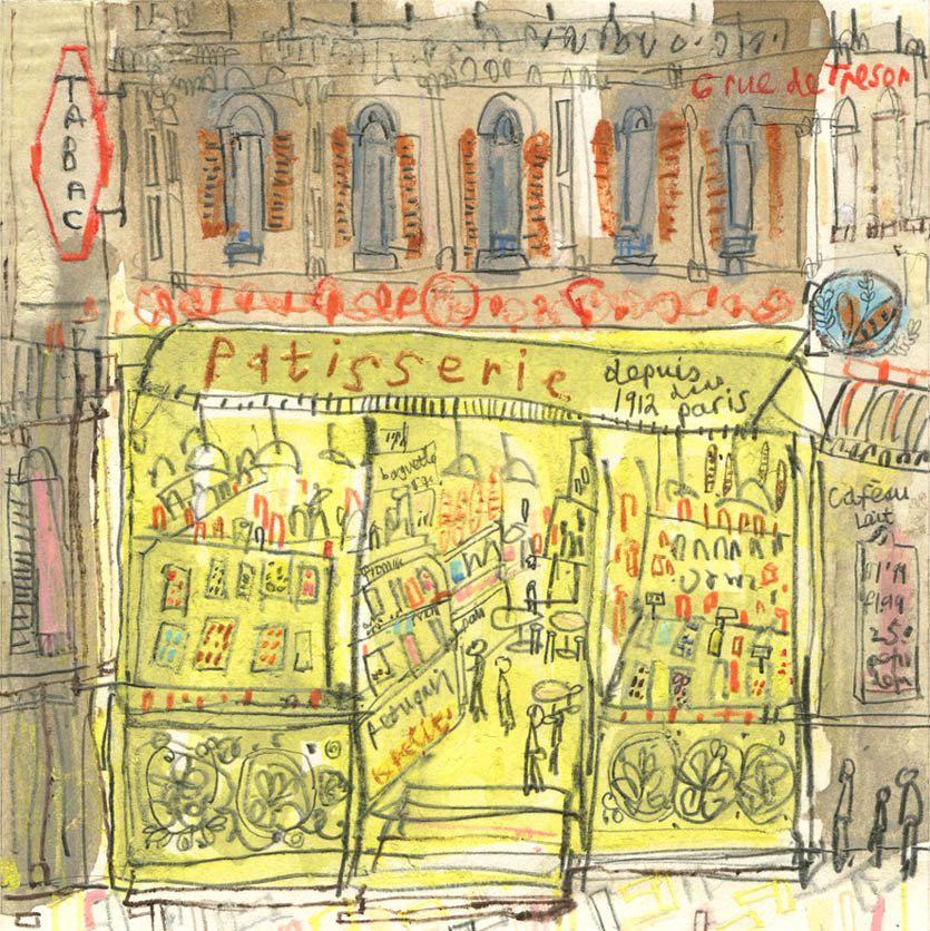 PATISSERIE PARIS ART French Signed Print Mixed-media Paris Cake Shop ...