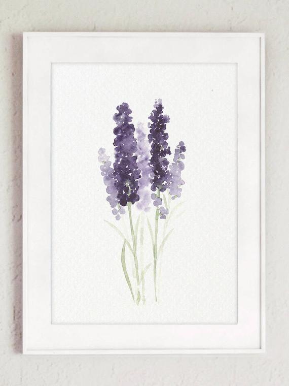 Lavender Set 3 Watercolor Art Prints Canvas Painting Etsy Flower Painting Canvas Minimalist Watercolor Watercolor Art Prints
