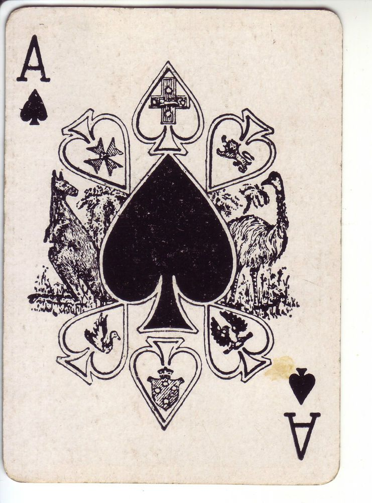 Single Vintage Swap Playing Card Spade Ace Wide Ace Spades Shields 1