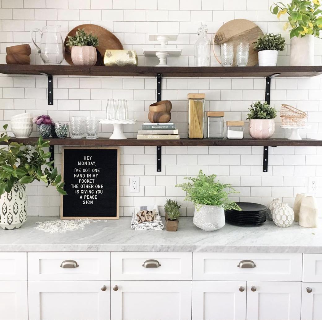 Height Of Floating Kitchen Shelves Open Kitchen Shelves