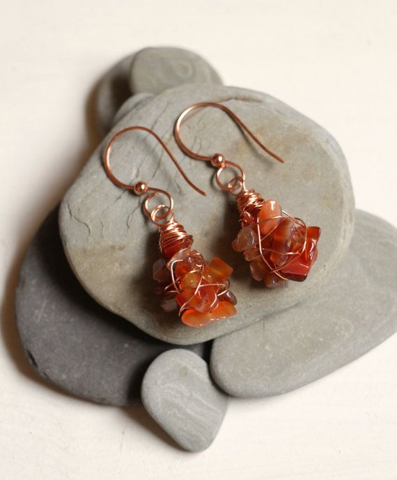 Copper Wrapped Earrings with Orange Gem Chips by SimplyElyse, $12.00
