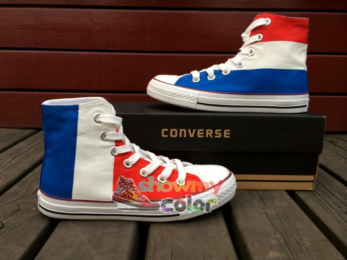 fae619175459 Flag of France Hand Painted Converse Shoes for Men Women Custom Design  Canvas Sneaker High Top