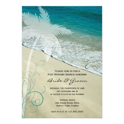 Tropical Beach Post Wedding Brunch Invitation Zazzle Com Couple Wedding Shower Tropical Beach Wedding Tropical Wedding Invitations