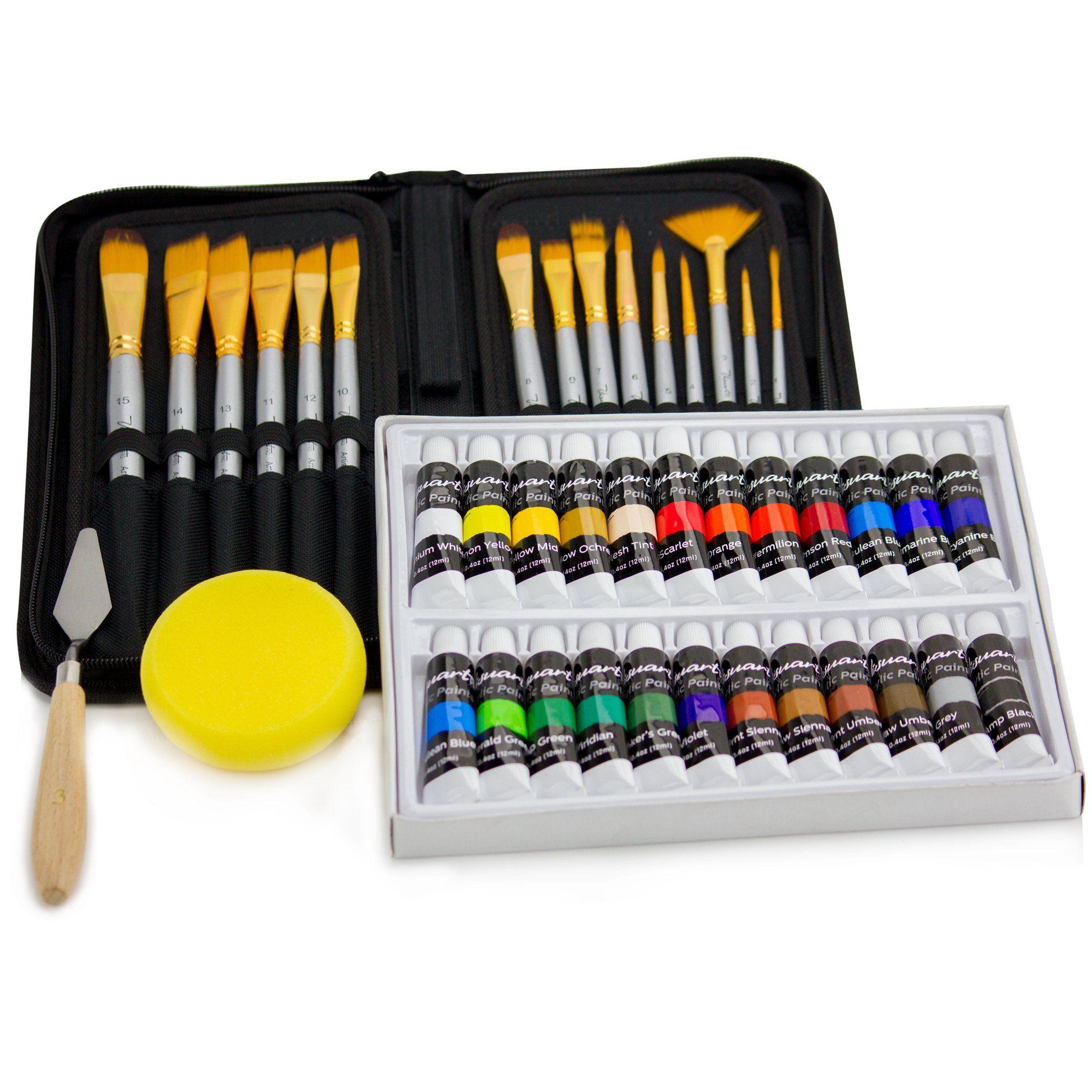 Acrylic paint brush set with 15 premium artist brushes and