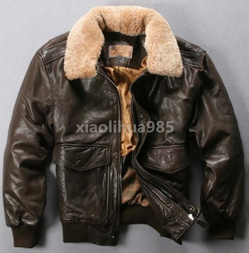 dba68d3a225 Warm Mens Pilot Jacket GENUNIE LEATHER Flight Bomber Coat Fur Collar Thick  Parka | Clothing, Shoes