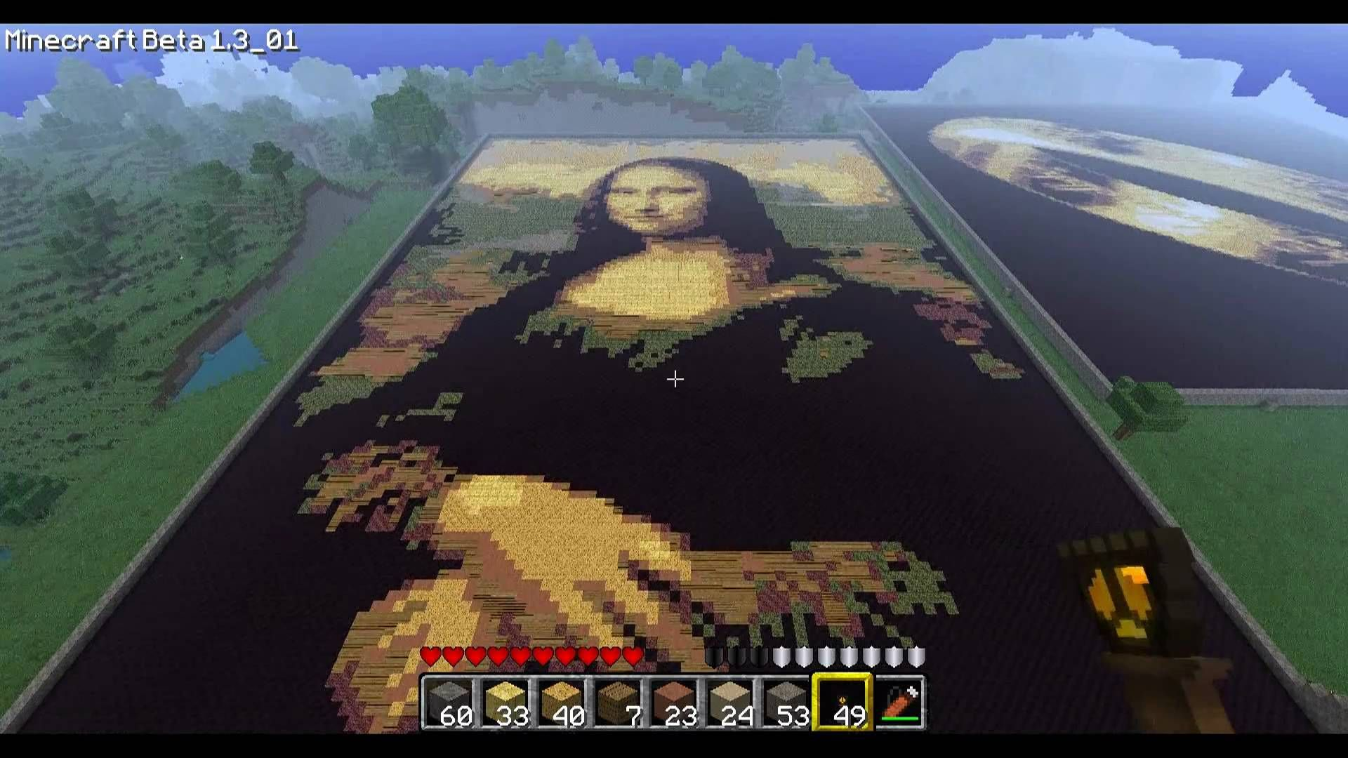 Minecraft Mona Lisa Art Videos Pinterest T Shirt Surfing Kaos 3second A0168