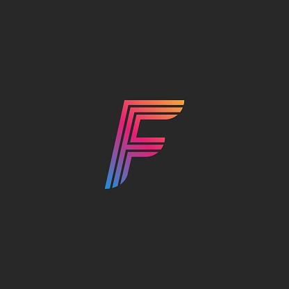 Letter F Linear Logo Monogram Design Template Modern Gradient Color Initial Emblem Disenos De Letras Letra F Estamapado De Disenos Graficos