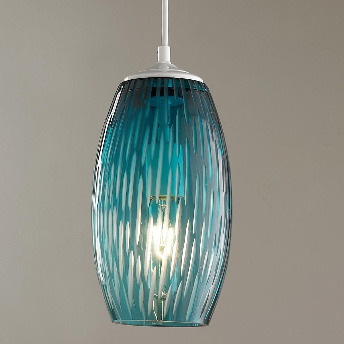Etched Lines Glass Pendant Light Glass Pendant Light Blue Pendant Light Island Pendant Lights