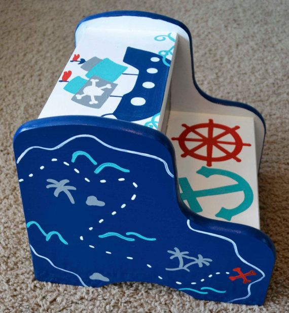 Pirate Step Stool Ocean Boat By Frogsandfairytales On Etsy