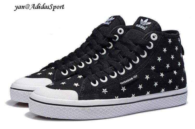 Adidas Originals Honey Mid W Dame Stjerner Glow In The Dark Sko Jeans Sort/ Hvid