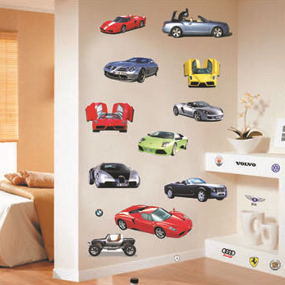 New Sports Car Wall Sticker Decal Home Decor Vinyl Removeable Kids Room Art Wall Kids Wall Stickers Kids Childrens Wall Stickers [ 1001 x 1001 Pixel ]