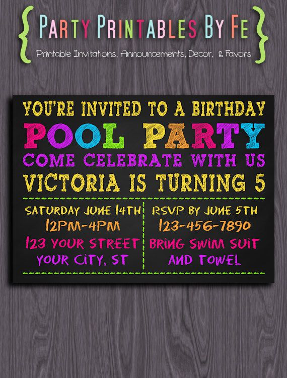 Printable Birthday Party Invitation Chalkboard Neon Pool I123