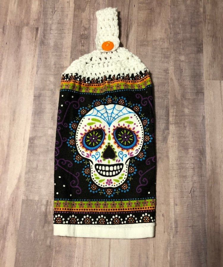 Crocheted Top Dish Towel - Sugar Skull #dishtowels
