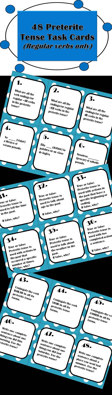 48 Spanish Preterite Tense Task Cards Regular Verbs Only Engaging And Educational Pr Spanish Classroom Activities Spanish Language Learning Preterite Tense [ 2880 x 816 Pixel ]