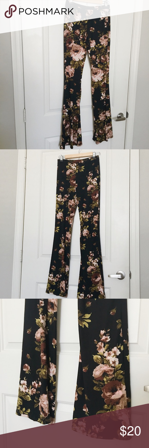 Floral Bell Bottoms Perfect condition beautiful soft pants polyester and spandex! Super stretchy Love Culture Pants Boot Cut & Flare