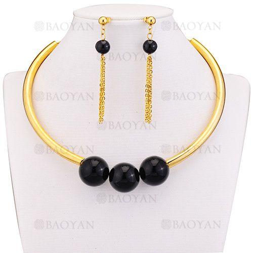 a30fe70aadac juego gargantilla y pendientes de bola negra grande en acero dorado  inoxidable para mujer -SSNEG183974