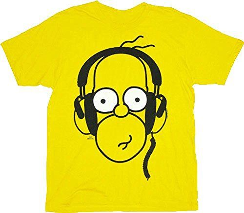 Super The Simpsons Homer With Headphones Yellow Adult T Shirt Tee Download Free Architecture Designs Scobabritishbridgeorg