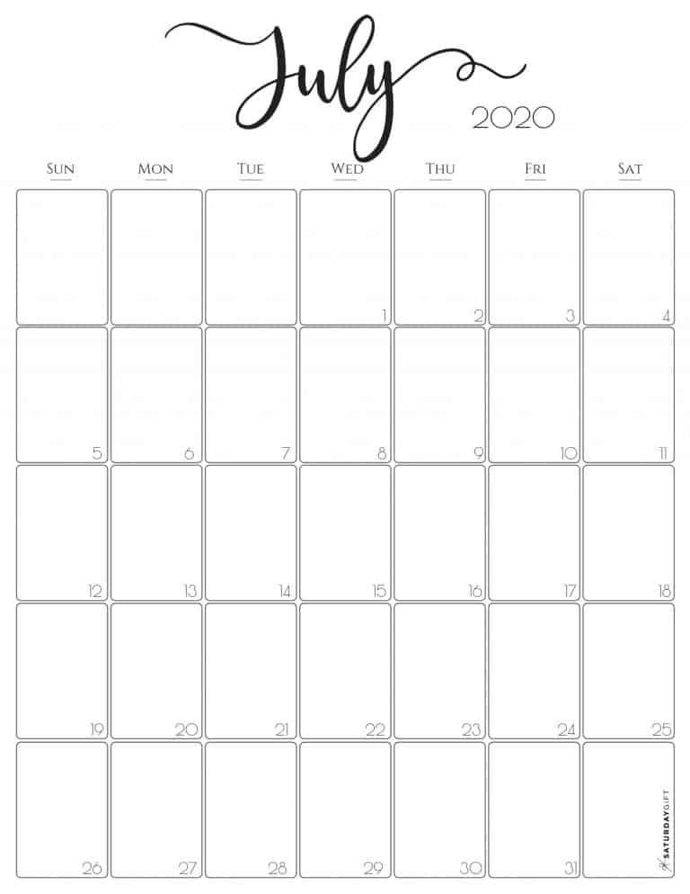 Stylish Vertical 2020 Monthly Calendar Free Printables In 2020 Monthly Calendar Calendar Printables Monthly Calendar Printable