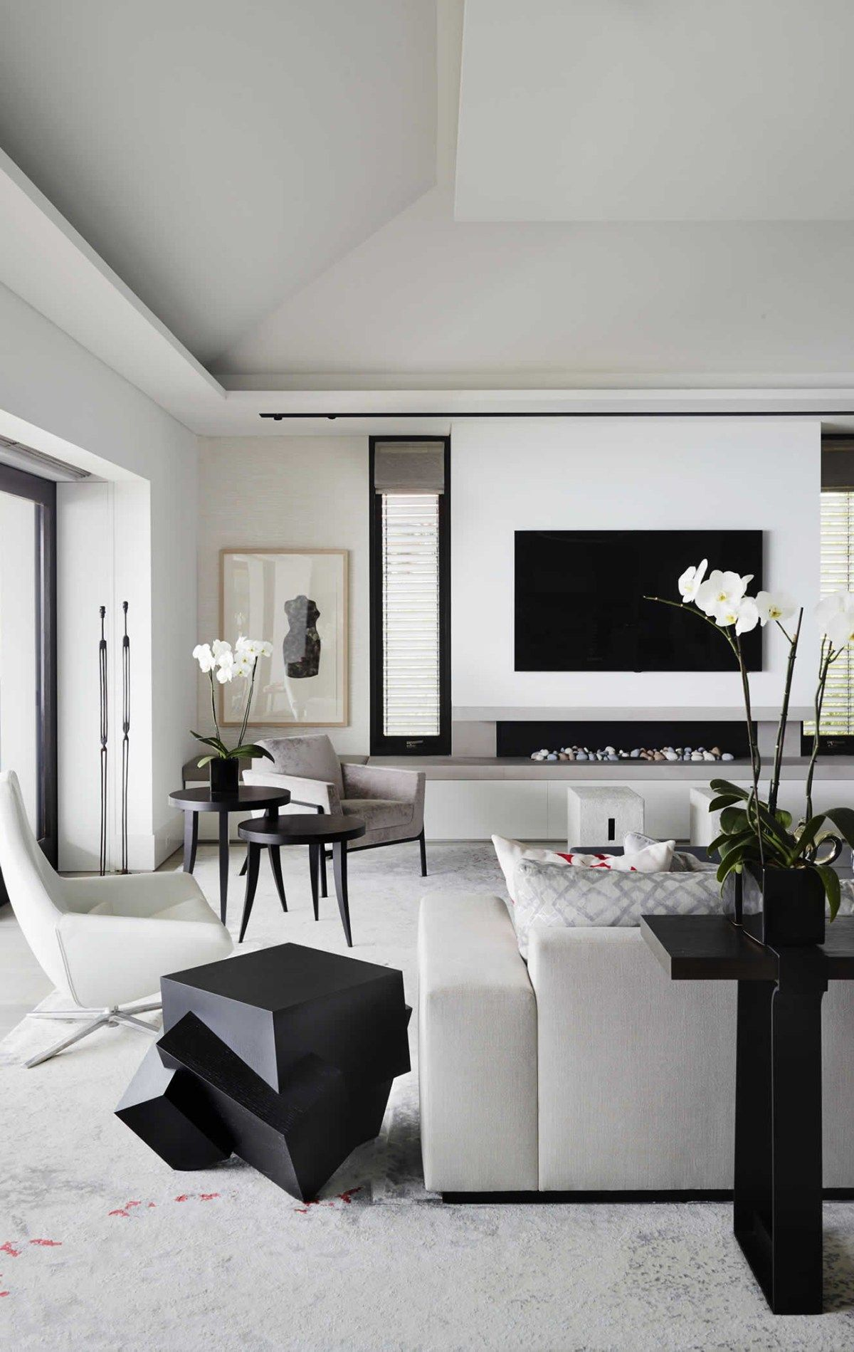 Decorating With White Monochrome Living Room Contemporary