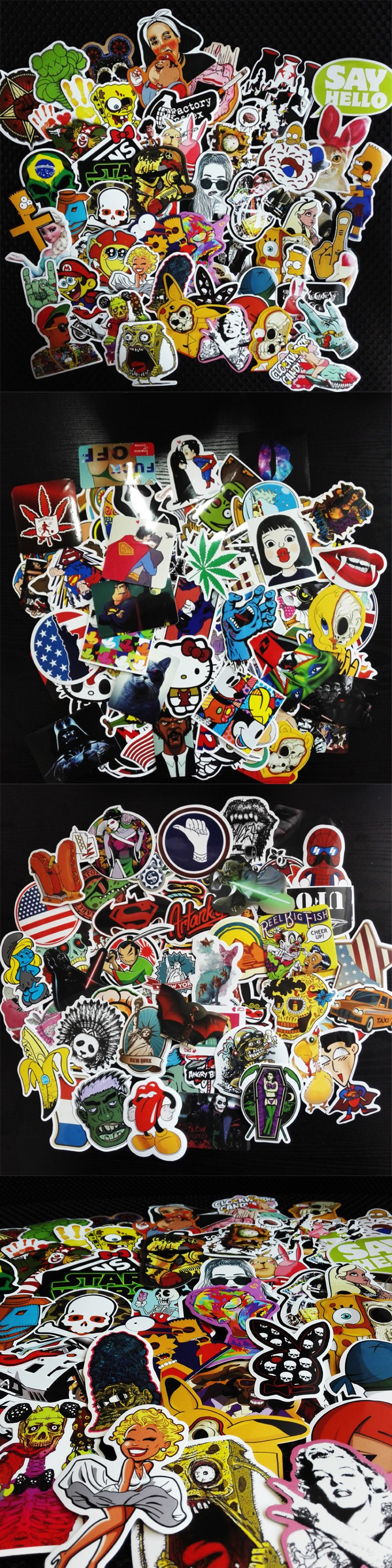 2016 50Pcs Fashion cool DIY Mixed Stickers for Skateboard Laptop Luggage Snowboard Fridge Phone toy Styling home decor Stickers $5.99