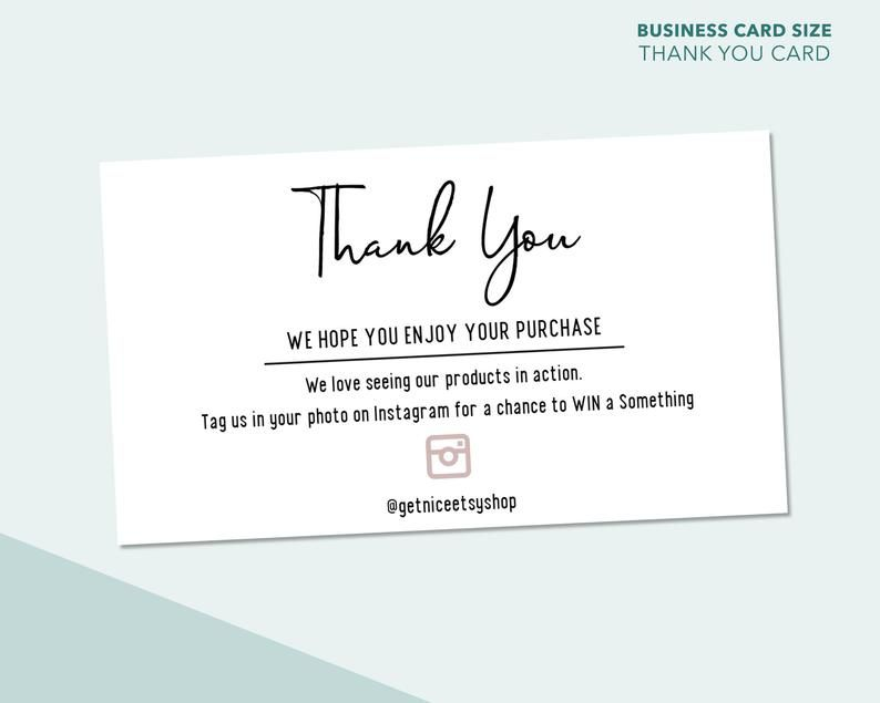 Thank You For Your Purchase Instagram Business Card Size Order Package Insert 3 5 Inch X 2 Inch Business Thank You Cards Business Card Size Instagram Business
