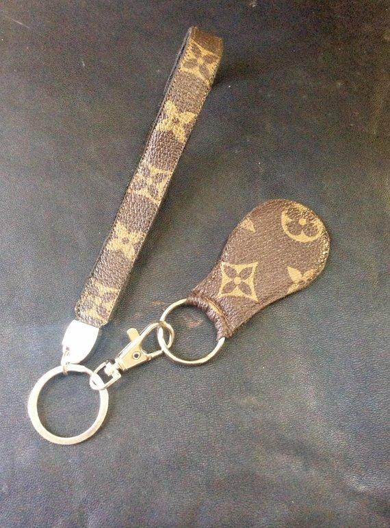 b264e58ca66 Louis Vuitton Valet set LV repurposed recycled keychain wristlet fob keyring